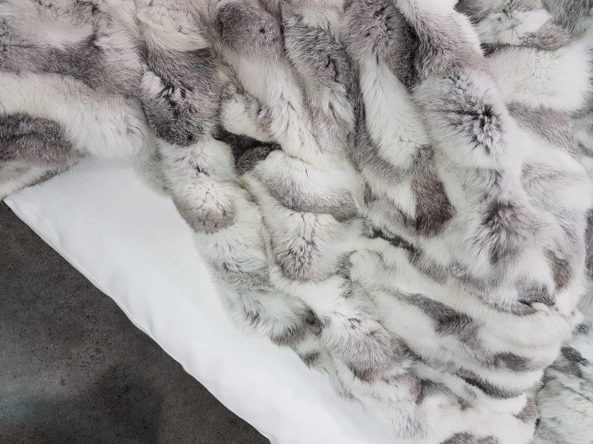 Rabbit Fur Throw Grey