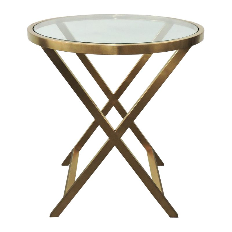 Glass Coffee Tables Nz: Bari Side Table Clr + Brnz