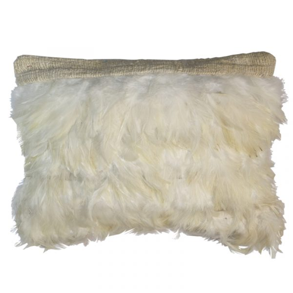 Feather Cushion Rectangle White (no inner)