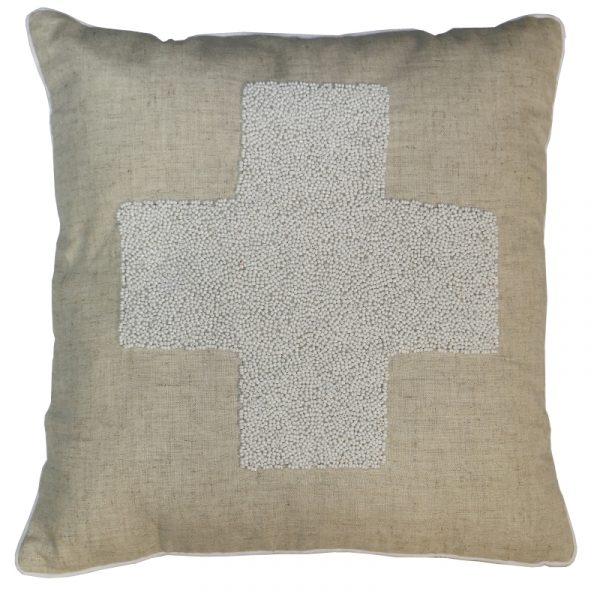 Beaded Cushion White (no inner)