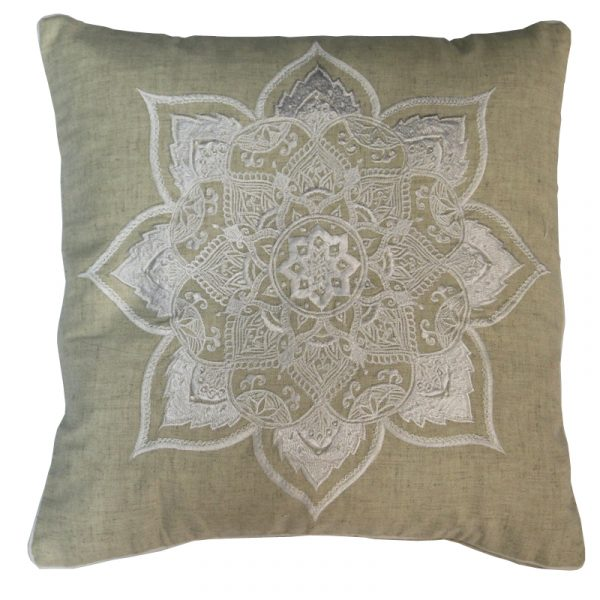 Embroidered Linen/White Cushion (no inner)